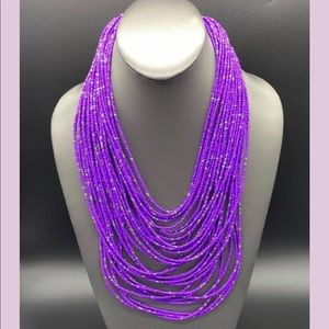 Beautiful Multistrand Purple and Silver Necklace